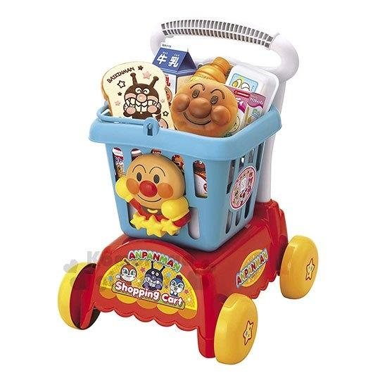 〔小禮堂〕麵包超人 購物車玩具組《藍紅.大臉.朋友》推車.菜籃車 4975201-18140
