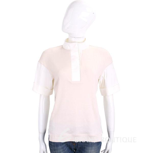FABIANA FILIPPI 淺卡其x白色拼接立領設計棉質短袖上衣 1720131-E2