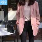 【V3393】shiny藍格子-休閒百搭‧英倫風純色長袖西裝外套