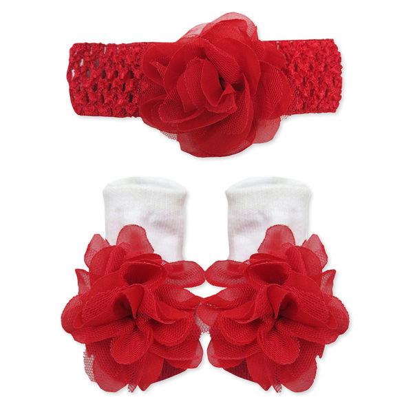 嬰兒襪/髮帶/禮盒  Luvena Fortuna 針織髮帶+襪子 2件套組 - 紅色網紗玫瑰 44019