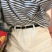 新品韓國新款細小腰帶pu皮帶女士淺金色橢圓扣頭復古白色褲帶 聖誕交換禮物