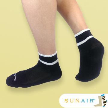 sunair 滅菌除臭襪子-運動薄襪 短筒 (L25~29) (黑+白) /SA2903