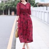 亞麻洋裝-中袖印花V領寬鬆綁帶女連身裙74ba24[巴黎精品]