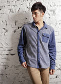 【BTIS】Imitation Denim Stripe Shirt 男仿單寧條紋襯衫 藍色