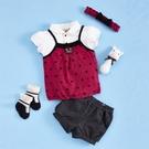 【金安德森】春夏彌月禮盒-星星熊女生款套裝+俏麗髮帶-粉色