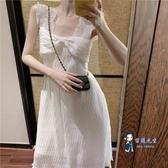 雪紡洋裝 2019夏季新款白色甜美吊帶裙子氣質收腰中長款仙女A字雪紡洋裝