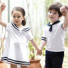 韓版休閒前線海軍風短袖上衣親子裝(女童)