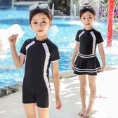 兒童泳衣 兒童游泳衣中大童女童連身裙式女孩6-8-12-15歲學生專業風泳裝