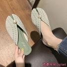 穆勒鞋 懶人穆勒鞋外穿女新款夏季魚嘴涼拖平底珍珠包頭半拖鞋潮-Ballet朵朵
