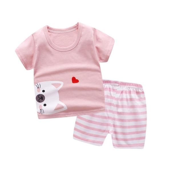 兒童套裝 純棉短袖短褲兩件套 家居服 春夏韓版套裝 88109