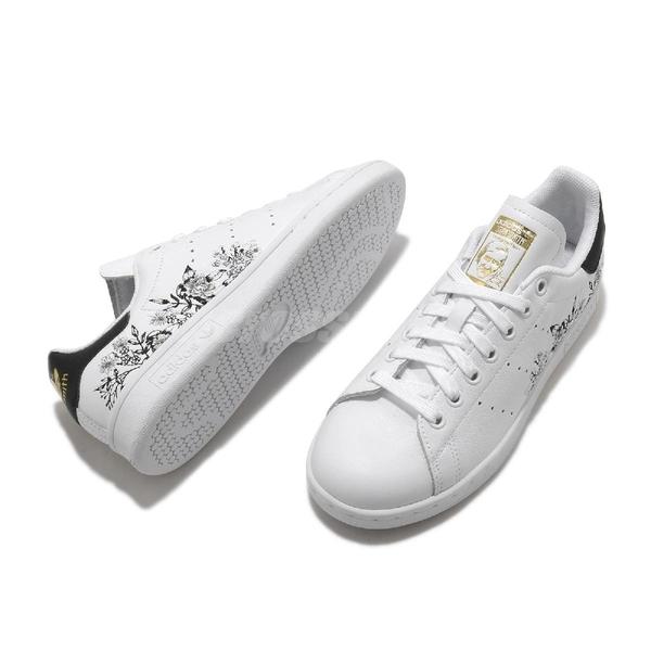 adidas 休閒鞋 Stan Smith W 小白鞋 白 黑 刺繡 花卉圖案 女鞋 三葉草【ACS】 FX3596