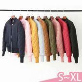 現貨-外套-S-XL多色簡約百搭純色拉鍊飛行員夾克短版鋪棉外套Kiwi Shop奇異果1011【STE9980】