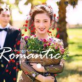韓式紅色花瓣黑色頭紗新娘結婚婚紗