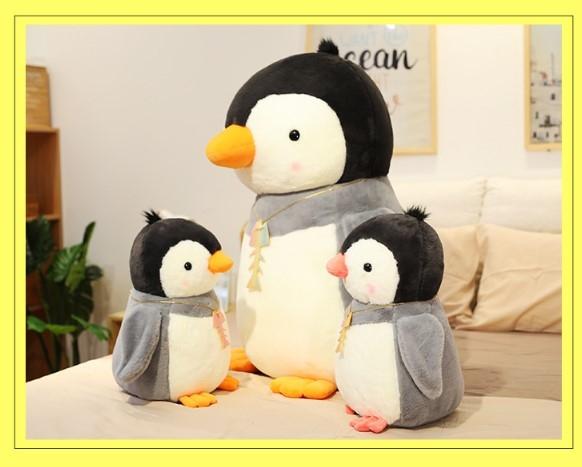 【35公分】時尚企鵝玩偶 魚骨頭項鍊娃娃 抱枕 聖誕節交換禮物 生日禮物 兒童節
