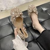 豆豆鞋 網紅平底單鞋女2020新款春夏百搭方頭仙女蝴蝶結水鑚珍珠豆豆鞋子【快速出貨】