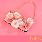 【萌萌噠】Xiaomi 小米6   立體高雅雙色玫瑰保護套 帶掛鍊側翻皮套 插卡 錢包式皮套 手機殼 硬殼