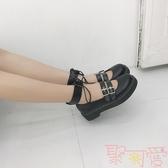 日系兩穿小皮鞋厚底圓頭女鞋洛麗塔少女可愛娃娃鞋【聚可愛】