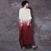 短袖連身裙-純棉復古寬鬆開叉女長裙4色73vu5【巴黎精品】