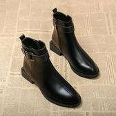 時尚短靴 馬丁靴女靴子年秋冬季新款英倫風百搭平底瘦瘦短靴加絨棉鞋子 快速出貨