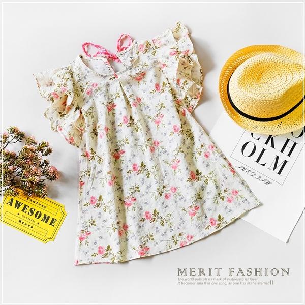 浪漫玫瑰後綁帶棉麻洋裝 女童 春夏 傘裙 洋裝 連身裙 長版