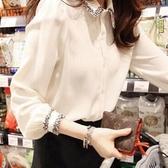 襯衫 白襯衫女長袖2020春夏裝新款雪紡上衣百搭寬鬆韓版學生設計感小眾 歐歐