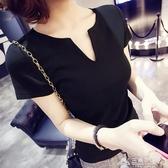 低領上衣 新款純棉黑色深V領短袖T恤女夏季小心機性感低領緊身半袖上衣 三角衣櫃 三角衣櫃
