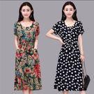 棉綢洋裝  連身裙 中老年媽媽裝短袖大尺碼 女裝印花中長版裙子新品 新款 夏季  熱銷88折