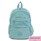 iBrand後背包 輕盈防潑水多口袋尼龍後背包-淺藍色 MDS-8551