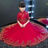 女童晚禮服公主裙小主持人長袖蓬蓬紗洋裝