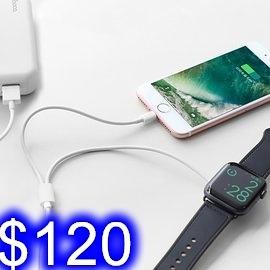 iWatch手錶+蘋果手機一托二充電線 適用1/2/3/4/5代蘋果手錶充電器 鈦金屬材質 吸附自動充電