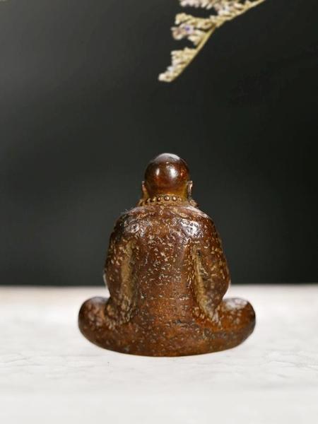 一紀 手工復古達摩銅茶寵禪意擺件 禪意佛道和尚創意可養茶玩配件