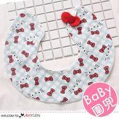 蝴蝶結格紋貓咪360度寶寶圍兜 口水巾