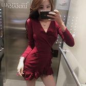 2019春秋新款夜店女裝性感修身收腰V領荷葉邊打底包臀紅色連衣裙