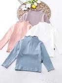 女童半高領打底衫兒童純棉春秋薄款內搭上衣寶寶白色秋季洋氣長袖