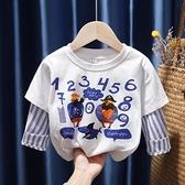 兒童長袖T恤2020新款春秋裝洋氣寶寶假兩件上衣男女童印花打底衫 怦然心動