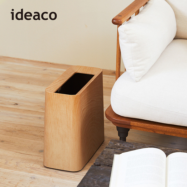 【日本ideaco】橡木紋方形家用垃圾桶-11.5L(方形 廚房 客廳 臥房 書房 清潔)