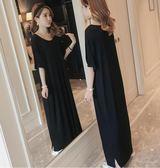 新款正韓休閒氣質大碼寬鬆顯瘦短袖連衣長裙黑色莫代爾過膝女 奈斯女裝