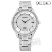 SEIKO 精工 / V157-0BX0S.SBPX101J / 極致簡約時尚太陽能藍寶石水晶鈦金屬手錶 銀色 39mm