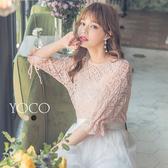 東京著衣【YOCO】空靈美人袖綁帶鏤空針織衫上衣-S.M.L(181221)