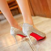 高跟鞋  高跟鞋女 韓版 百搭細跟尖頭銀色婚鞋新娘鞋單鞋女  瑪奇哈朵