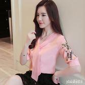 雪紡襯衫 短袖寬鬆遮肚子顯瘦衣服2019新款女裝百搭春夏裝刺繡上衣 GD1517『Pink領袖衣社』