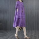 中大尺碼洋裝 氣質棉麻連身裙女 夏季新款韓版純色拼接中長裙 寬鬆大碼素色洋氣亞麻裙