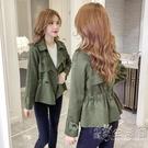 2020年秋冬季風衣翻領韓版收腰顯瘦新款外套女小西裝短款皮絨夾克 小時光生活館