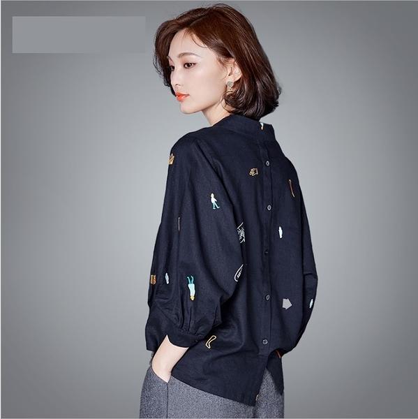 中大尺碼上衣 韓版亞麻襯衫九分袖套頭上衣 M-2XL #ob04668 ❤卡樂store❤