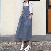 背帶長款霧霾藍洋裝子超仙女學生可鹽可甜吊帶夏梗桔初戀裙森系 夏季新品
