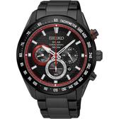 SEIKO精工 Criteria 太陽能計時手錶-鍍黑x紅圈/43mm V175-0EE0R(SSC593P1)