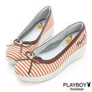 娃娃鞋 PLAYBOY-GOPLAY 輕甜 條紋 蝴蝶結-桔