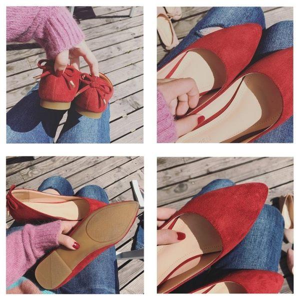 尖頭磨砂素面質感後跟蝴蝶結裝飾娃娃鞋平底鞋包鞋女鞋工作鞋黑色(30-46)現貨