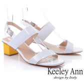 ★2019春夏★Keeley Ann簡約一字帶 牛漆皮中粗跟後帶扣涼鞋(白色) -Ann系列