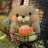 可愛胖倉鼠公仔抱枕 吃貨土撥鼠玩偶 超萌毛絨玩具靠枕娃娃送女生 檸檬衣舍